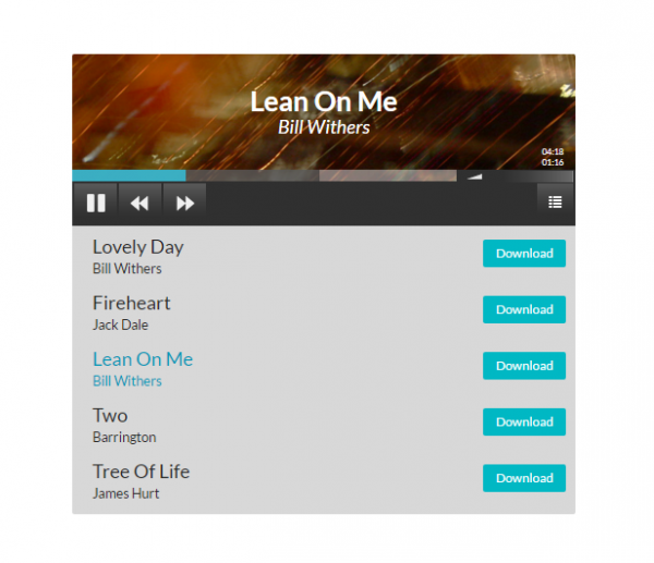 Example 1, playlist player with download buttons.